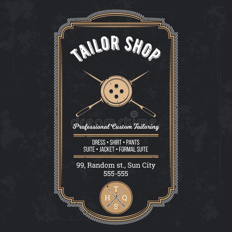 Vettore d'annata dell'emblema o del contrassegno del negozio del sarto royalty illustrazione gratis