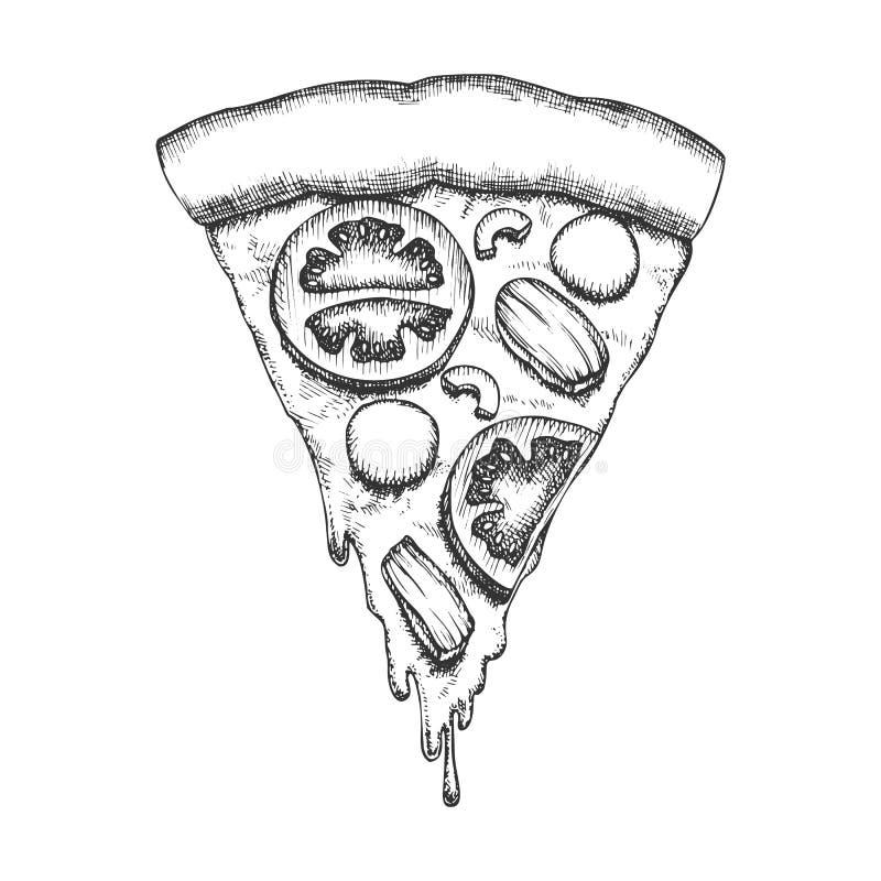 Vettore d'annata della fetta della pizza italiana di verdure del pezzo royalty illustrazione gratis