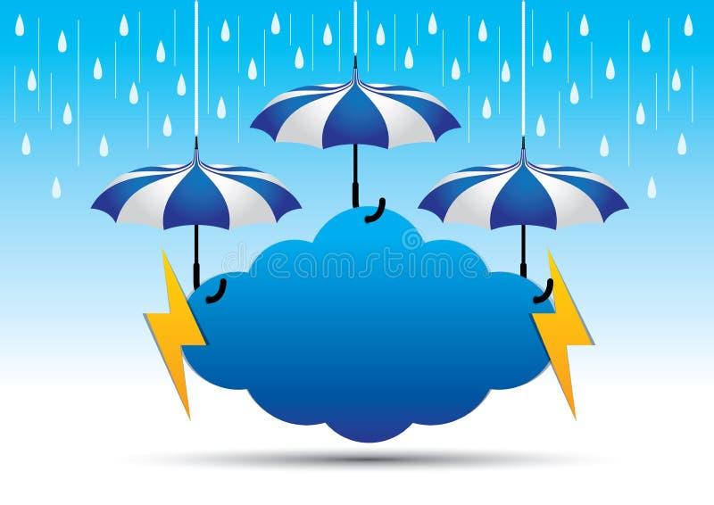 Vettore d'attaccatura del segno di monsone creativo per i media di promozione di stagione delle pioggie illustrazione vettoriale