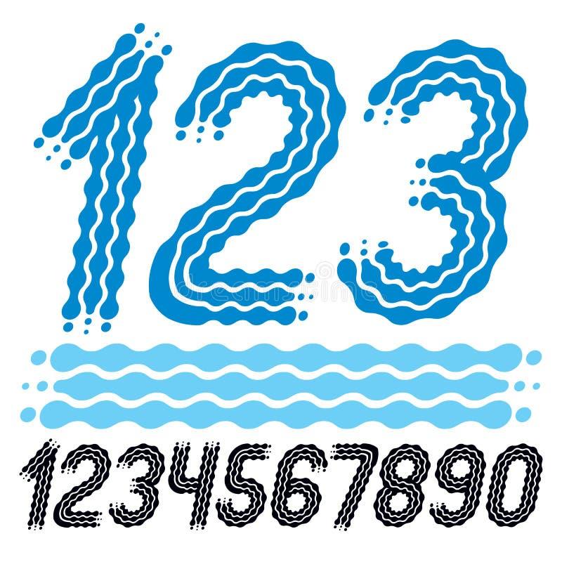 Vettore d'avanguardia, raccolta fresca di numeri I numeri arrotondati di grassetto corsivo da 0 a 9 possono essere utilizzati in  royalty illustrazione gratis