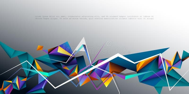 Vettore 3D geometrico, poligono, linea, forma del modello del triangolo per la carta da parati royalty illustrazione gratis
