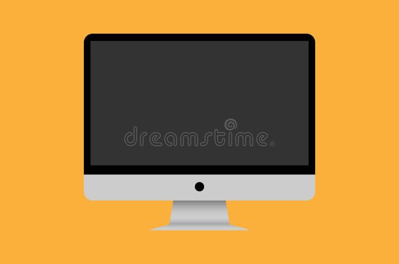 Vettore da tavolino dell'icona del computer su fondo arancio fotografia stock libera da diritti