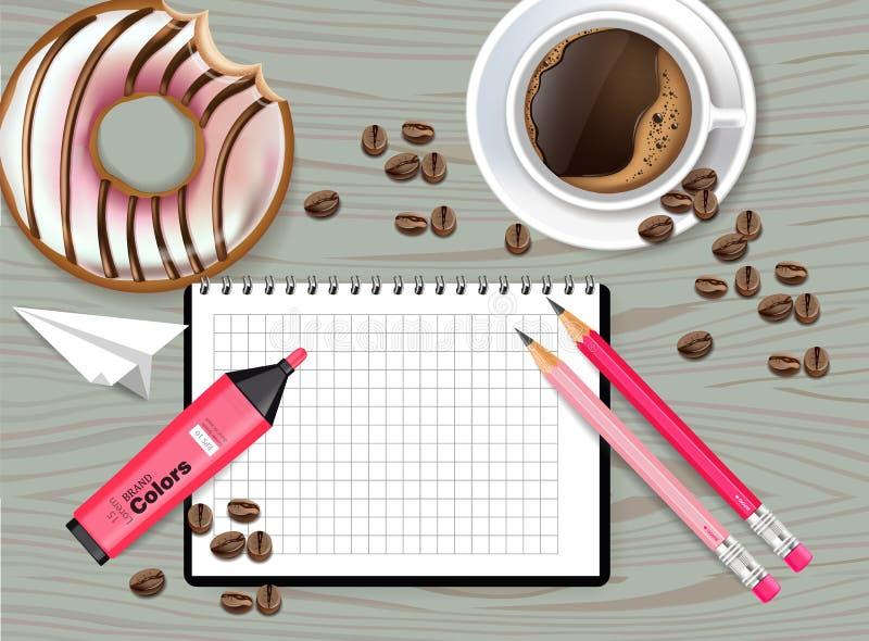 Vettore da tavolino di punto di vista del progettista dell'ufficio realistico Caffè, taccuino, indicatore e ciambella Modelli det illustrazione di stock