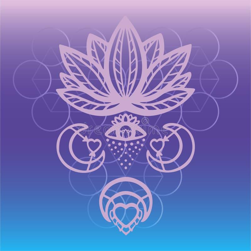 Vettore decorato del fiore di loto del profilo con l'occhio di alchemia, la luna ed i simboli esoterici del cuore, bello loto dis illustrazione di stock