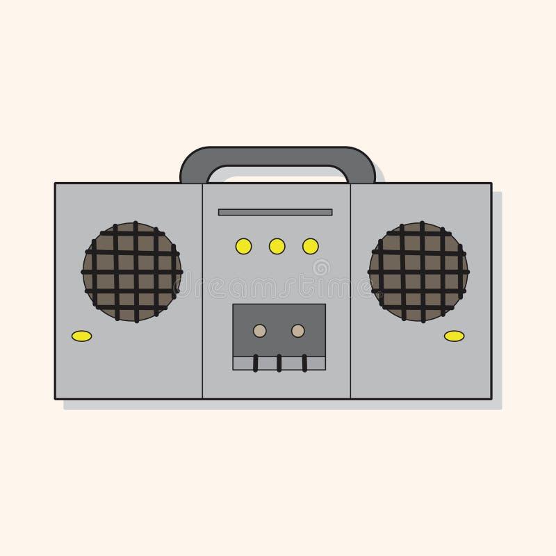 Vettore degli elementi di tema del registratore sonoro di musica rock, ENV illustrazione di stock