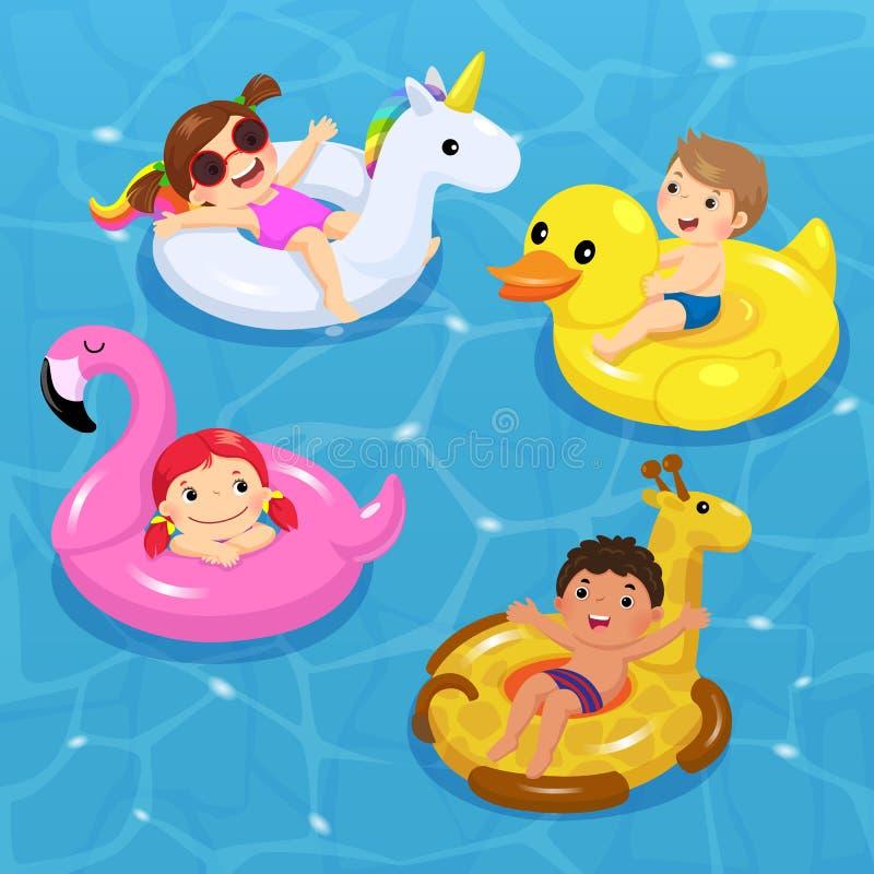 Vettore dei bambini che galleggiano su gonfiabile nelle forme dell'unicorno, illustrazione vettoriale