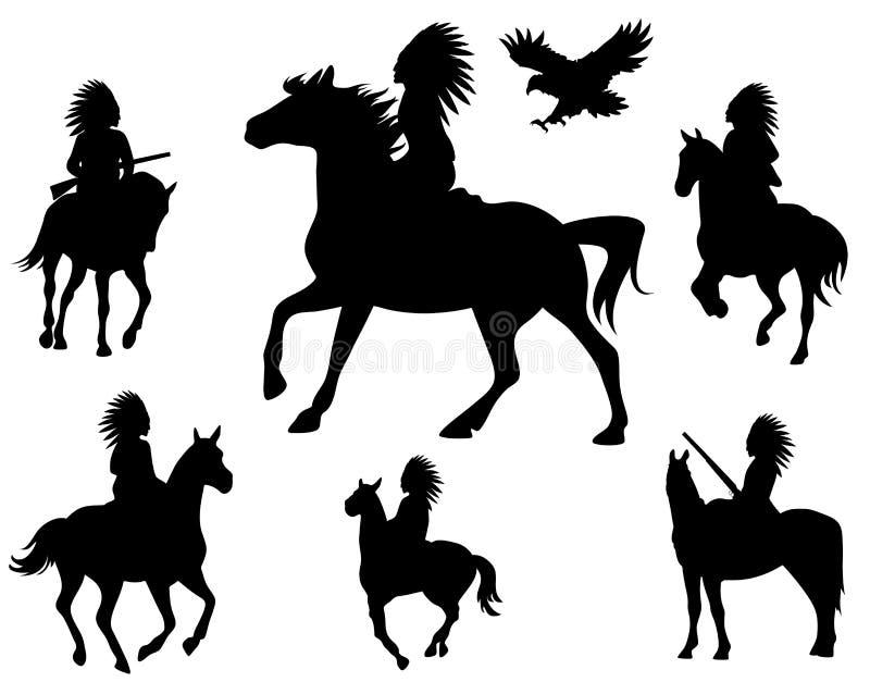 Vettore Dei Cavalieri Dell Nativo Americano Immagini Stock Libere da Diritti
