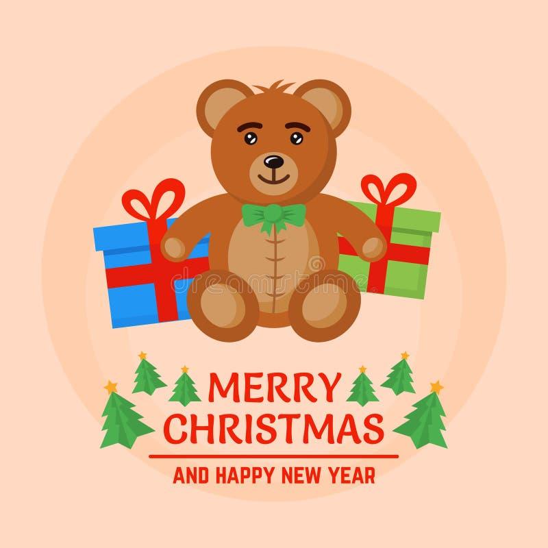Vettore dei contenitori di regalo del giocattolo e di natale dell'orso bruno illustrazione vettoriale
