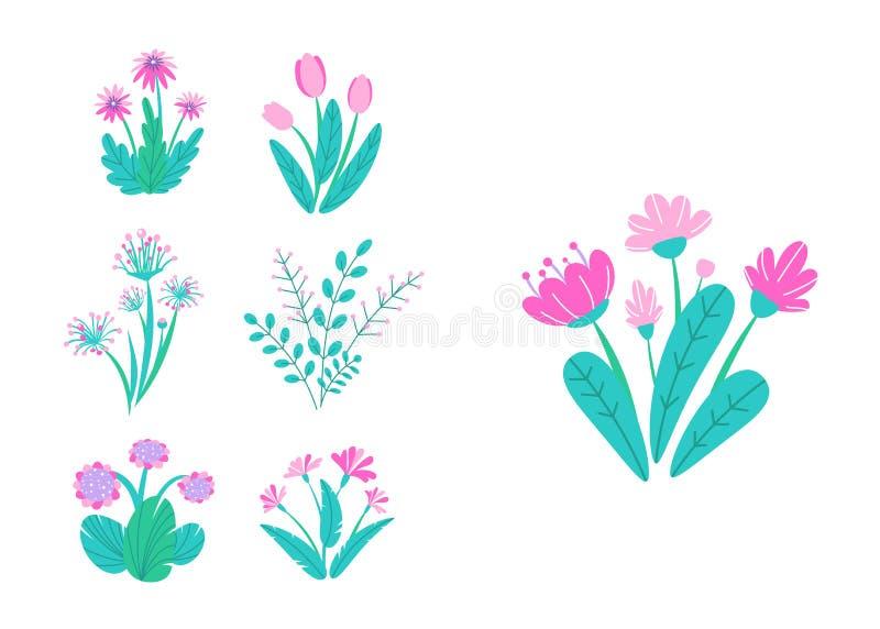 Vettore dei fiori del giardino della primavera Illustrazione semplice del mazzo della pianta Elementi della natura di primavera d illustrazione vettoriale