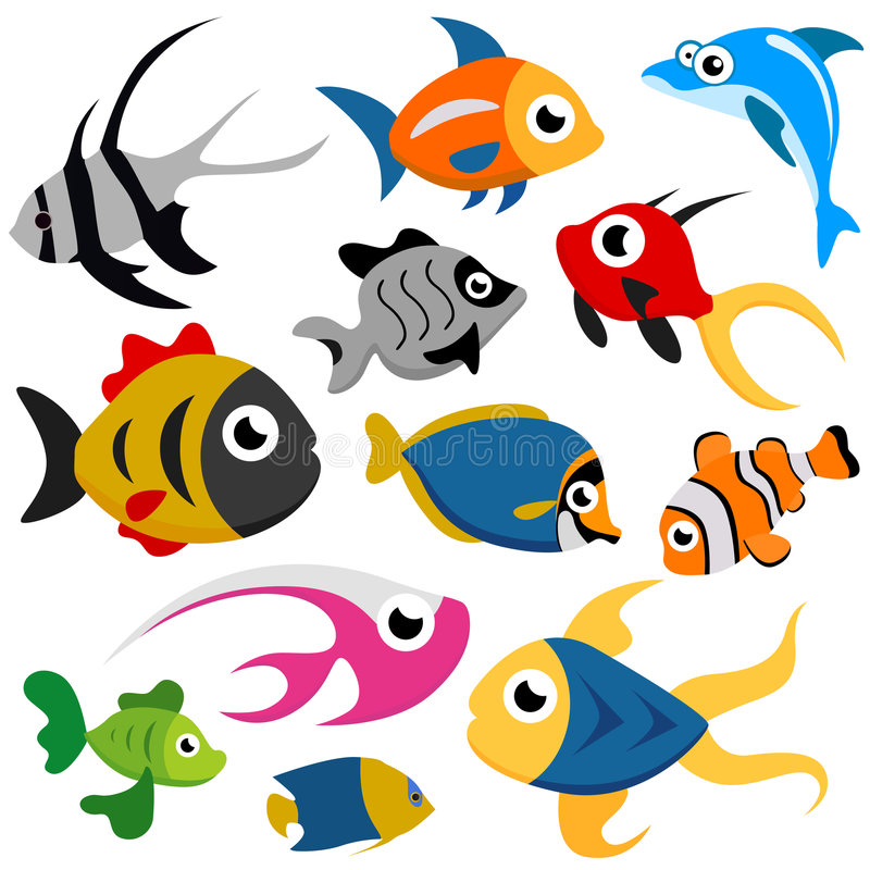 Vettore dei pesci del fumetto illustrazione vettoriale