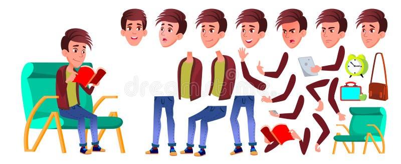 Vettore del bambino dello scolaro del ragazzo Bambino della High School Insieme della creazione di animazione Emozioni del fronte illustrazione di stock