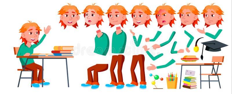 Vettore del bambino dello scolaro del ragazzo Bambino della High School Insieme della creazione di animazione Emozioni del fronte royalty illustrazione gratis