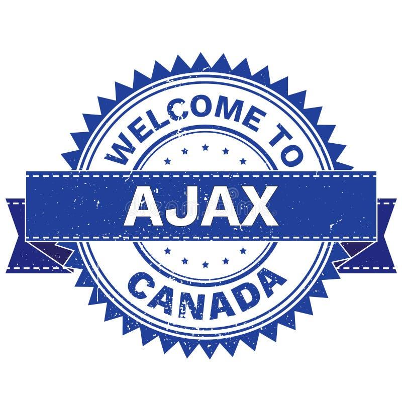 Vettore del BENVENUTO alla città AJAX Country CANADA bollo autoadesivo Stile di lerciume EPS8 illustrazione di stock