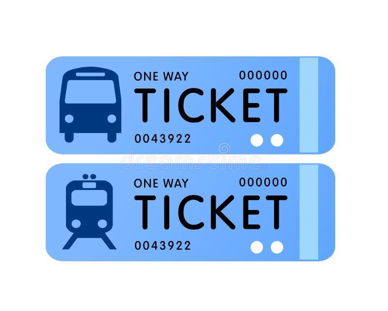 Vettore del biglietto di treno e del bus illustrazione vettoriale