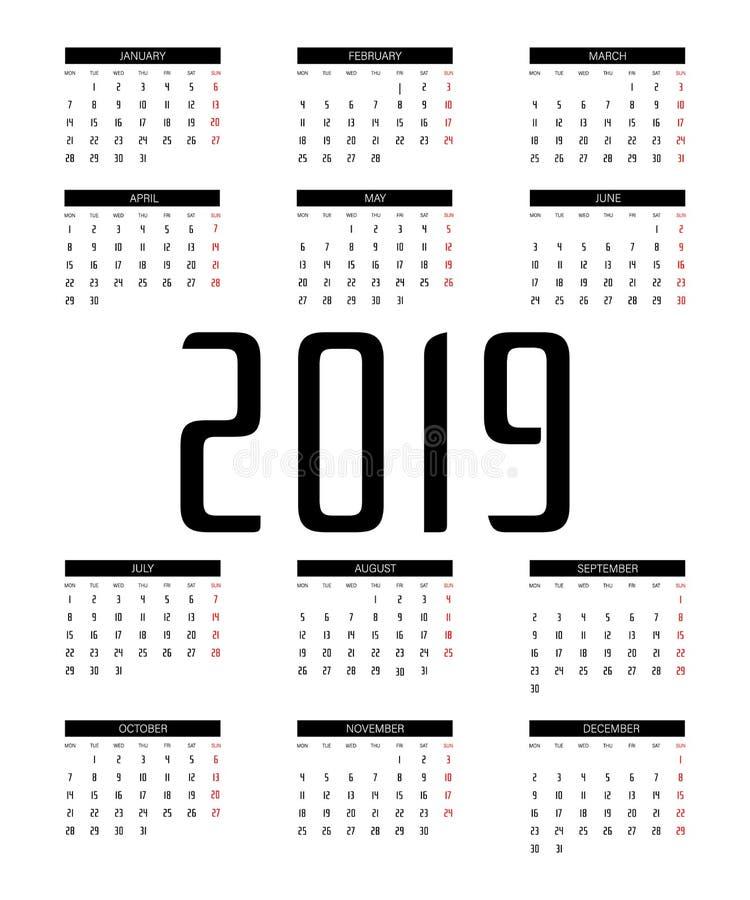 Vettore del calendario 2019 illustrazione vettoriale