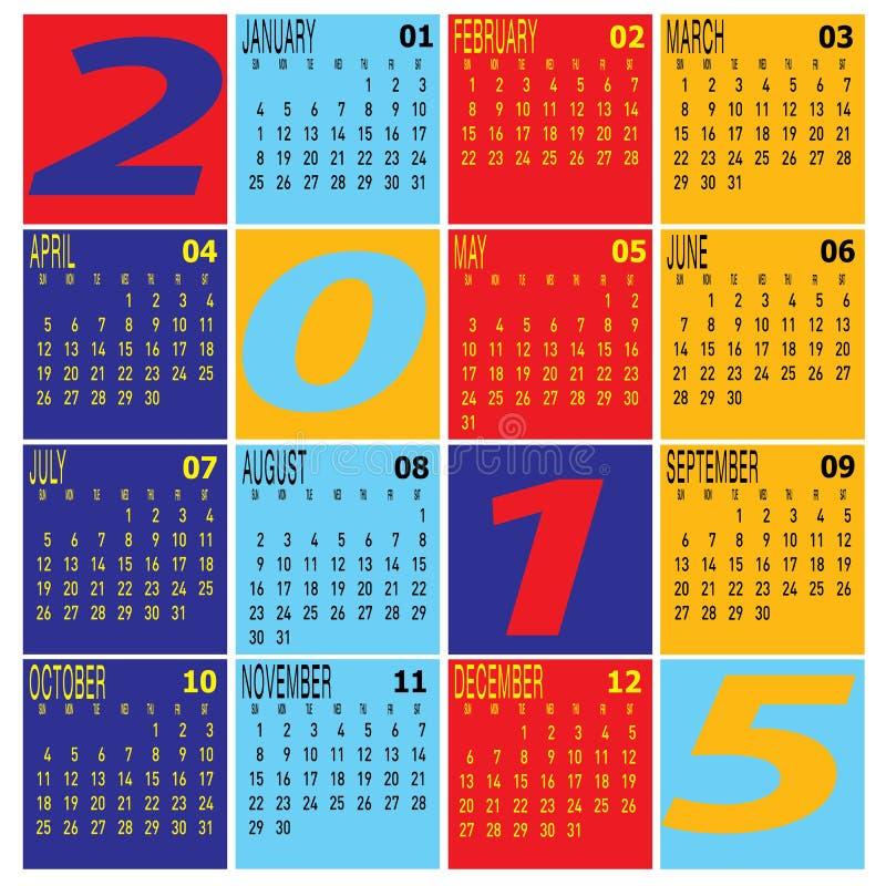 Vettore del calendario variopinto di anno 2015 royalty illustrazione gratis