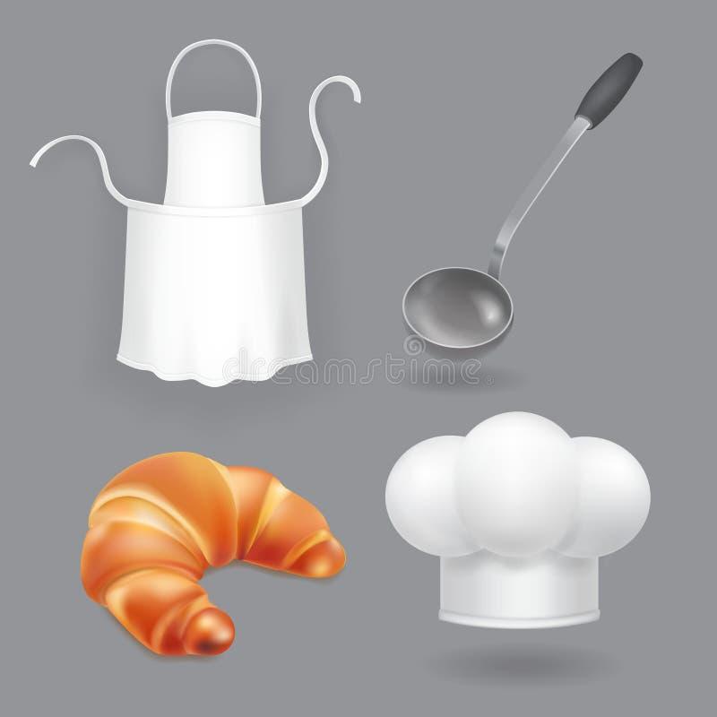 Vettore del cappello del cuoco unico, del grembiule della cucina, della siviera e del pane Icone della cucina impostate illustrazione vettoriale