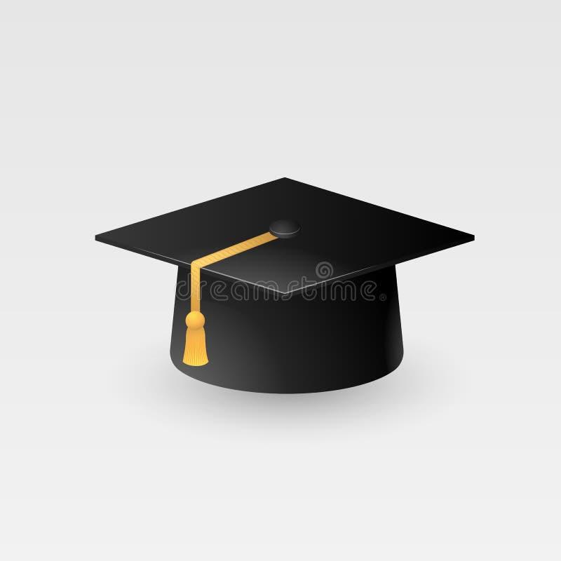 Vettore del cappuccio di graduazione isolato su fondo bianco, cappello di graduazione con l'icona della nappa, cappuccio accademi royalty illustrazione gratis