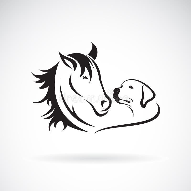 Vettore del cavallo e del dogLabrador su fondo bianco pet animale Illustrazione stratificata editabile facile di vettore illustrazione vettoriale