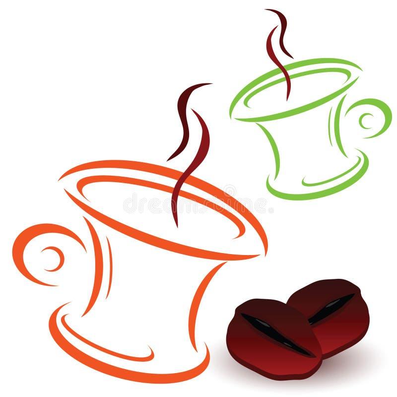 Vettore del chicco e delle tazze di caffè illustrazione vettoriale
