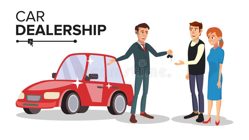 Vettore del commerciante di automobile Agente del concessionario auto illustrazione di stock