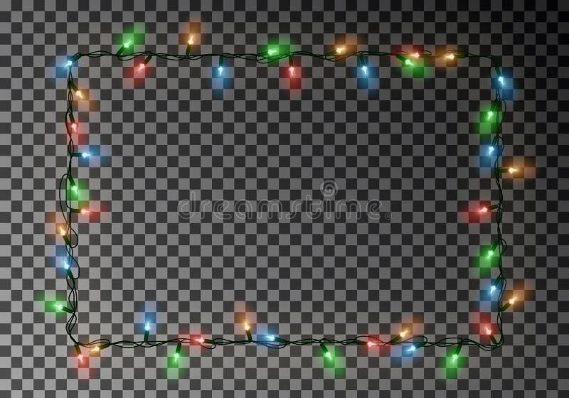 Vettore del confine delle luci di Natale, struttura leggera della corda isolata su fondo scuro con lo spazio della copia tran illustrazione di stock