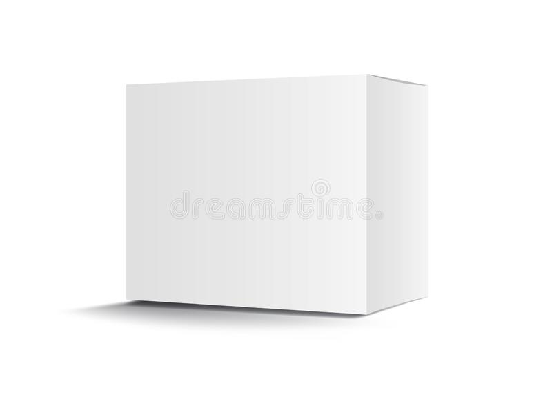 Vettore del contenitore di pacchetto, progettazione di pacchetto bianchi, 3d scatola, progettazione, imballaggio realistico per c illustrazione di stock