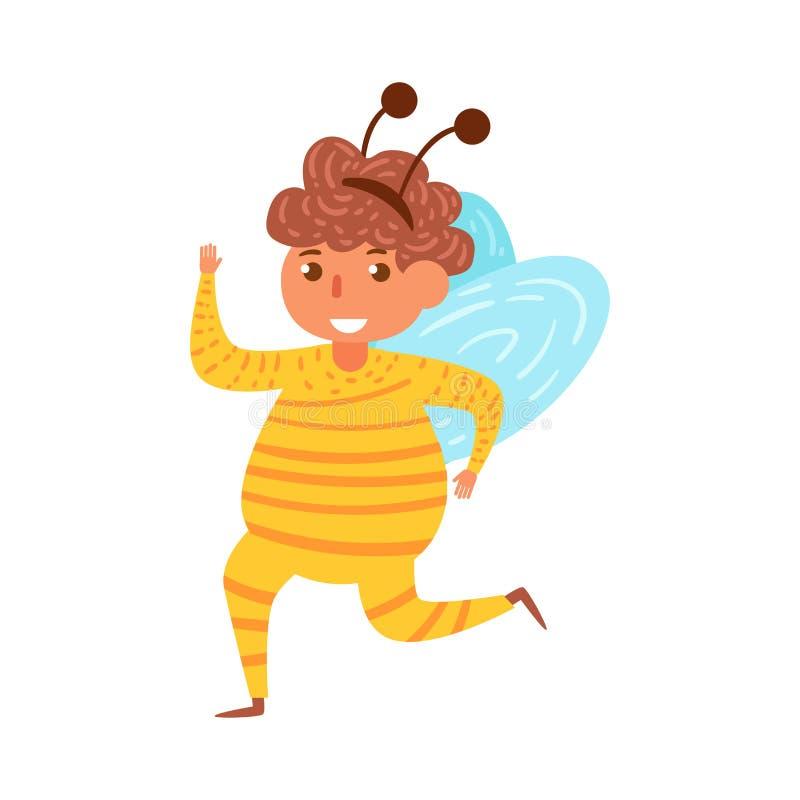 Vettore del costume del ` s Halloween dei bambini dell'ape fumetto Arte isolata su bianco royalty illustrazione gratis