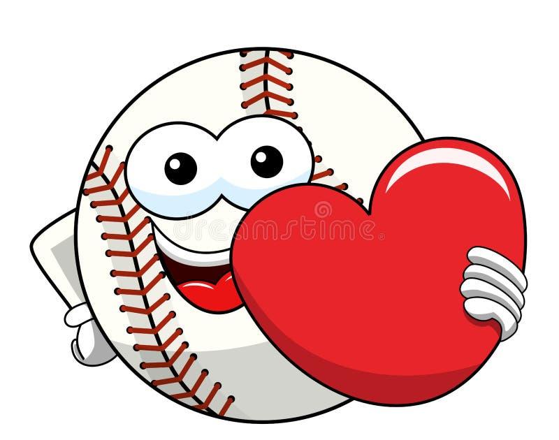 Vettore del cuore di amore del fumetto della mascotte del carattere della palla di baseball isolato illustrazione vettoriale