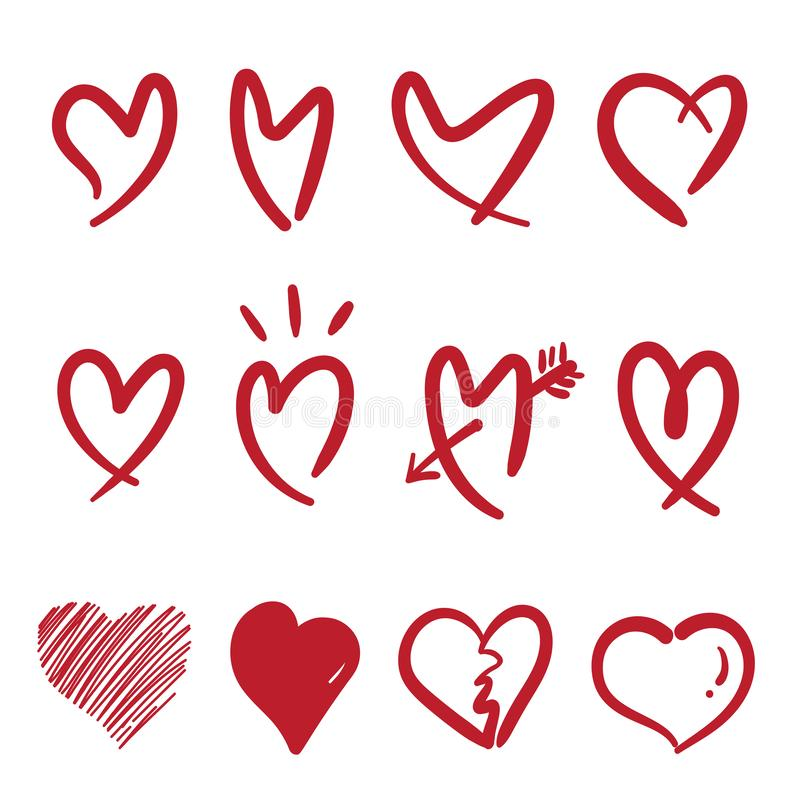 Vettore del cuore disegnato a mano di stile di scarabocchio isolato su fondo bianco Cuore di rosso del gruppo Illustrazione strat illustrazione di stock