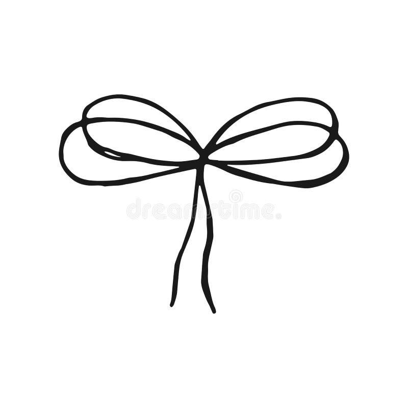 Vettore del disegno della mano del filo del nodo dell'arco elemento isolato annata illustrazione di stock