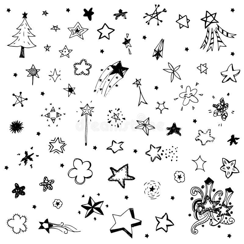 Vettore del disegno dello scarabocchio della stella nel profilo nero royalty illustrazione gratis