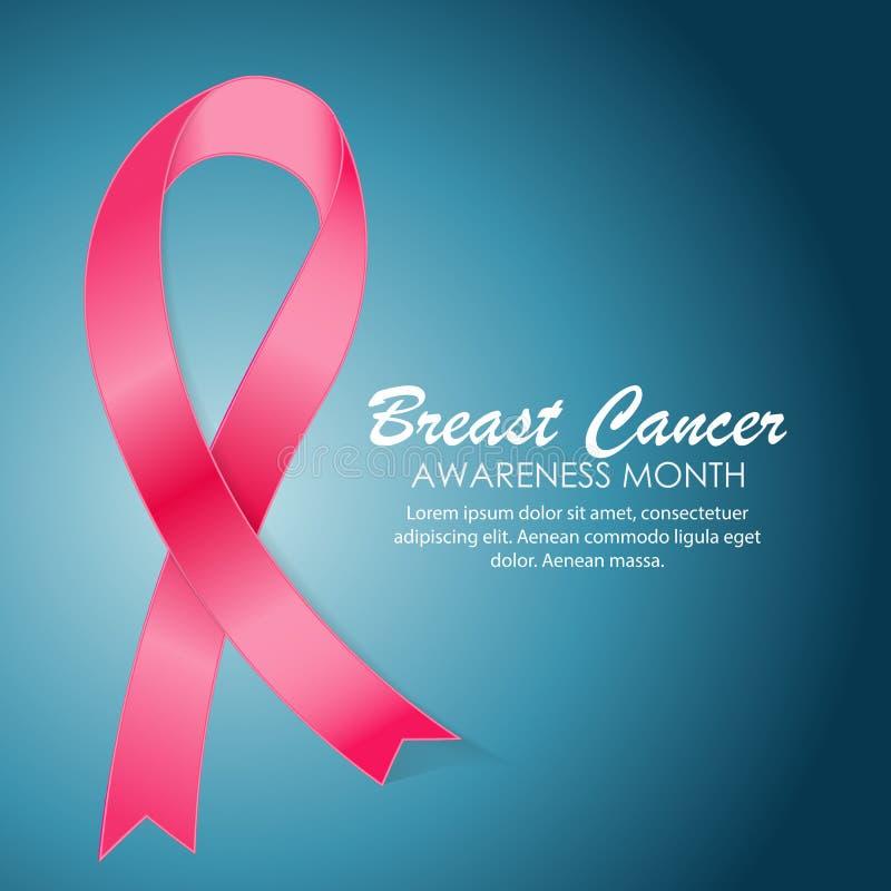 Vettore del fondo del nastro di rosa di mese di consapevolezza del cancro al seno illustrazione vettoriale