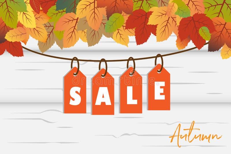 Vettore del fondo dell'insegna di Autumn Sale con le foglie arancio e verdi di caduta con l'etichetta d'attaccatura di vendita ne illustrazione vettoriale