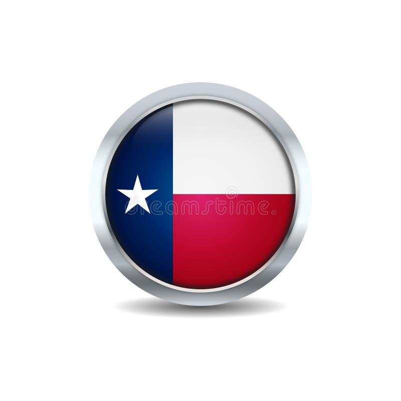 Vettore del fondo della bandiera del bottone del cerchio del Texas illustrazione vettoriale