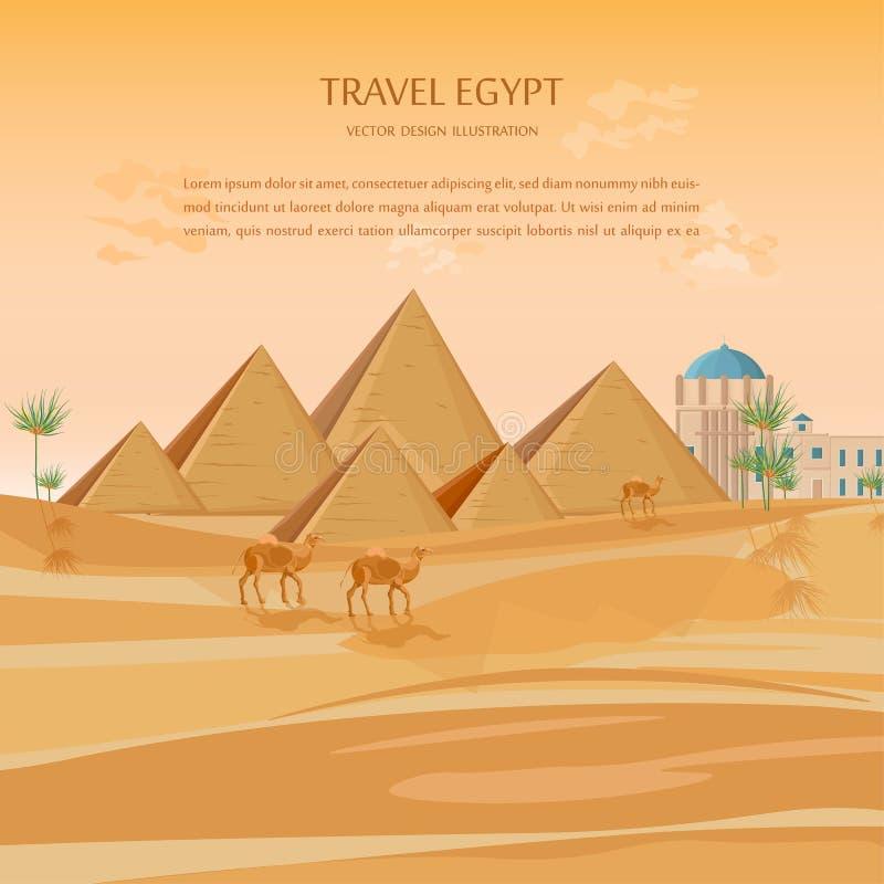 Vettore del fondo della carta delle piramidi dell'Egitto Vista del deserto con i cammelli illustrazione di stock