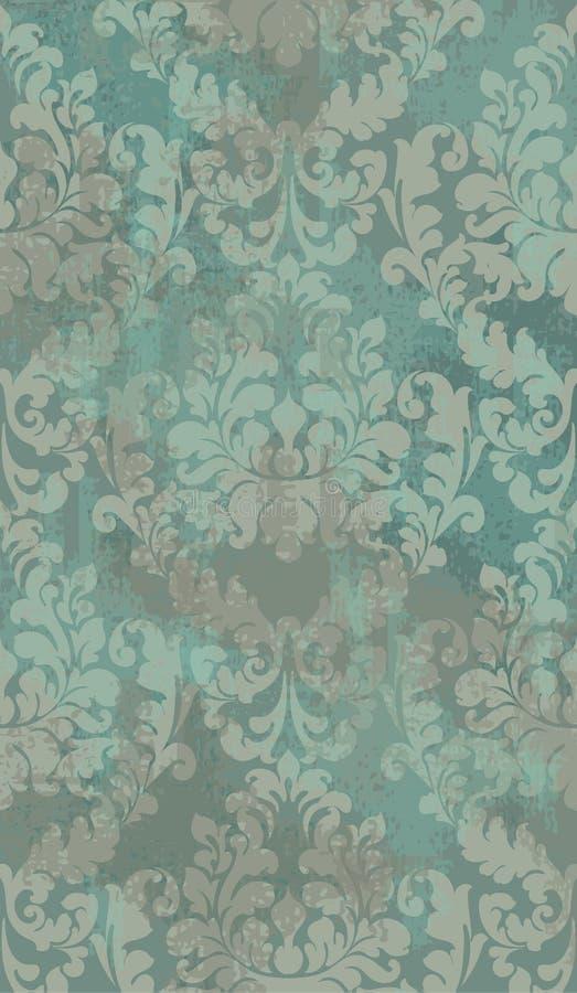 Vettore del fondo di lerciume di struttura del damasco Decorazione del modello dell'ornamento floreale con vecchio effetto delle  illustrazione vettoriale