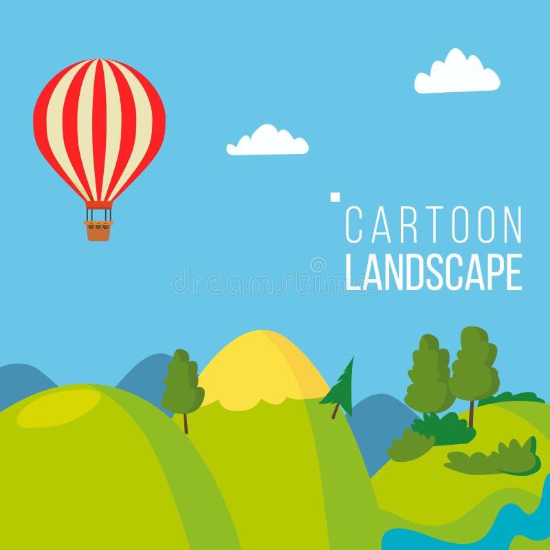 Vettore del fondo del paesaggio del fumetto Primavera, paesaggio del prato di stagione estiva Albero, campo verde, nuvole Fumetto royalty illustrazione gratis