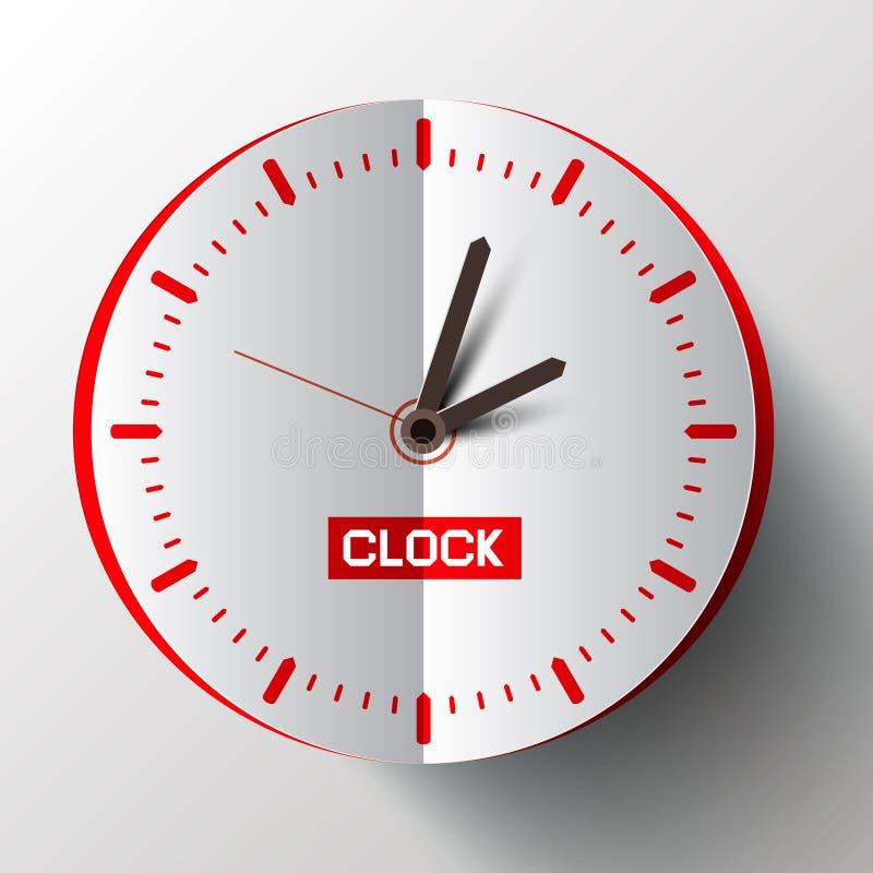 Vettore del fronte di orologio del taglio della carta illustrazione di stock