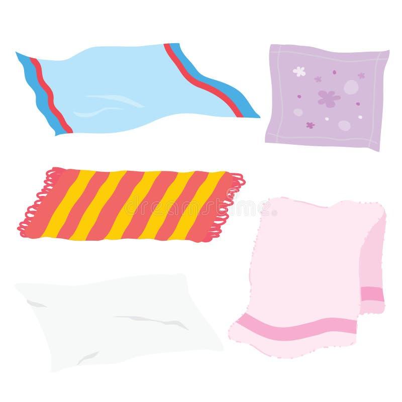 Vettore del fumetto del panno del tessuto dello straccio del fazzoletto del tovagliolo dello strato dell'asciugamano del tappeto fotografie stock