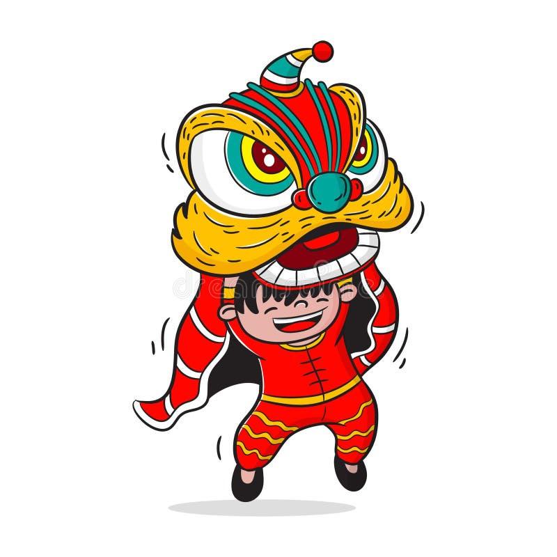 Vettore del fumetto di ballo di leone, progettazione di carattere, nuovo anno cinese illustrazione vettoriale