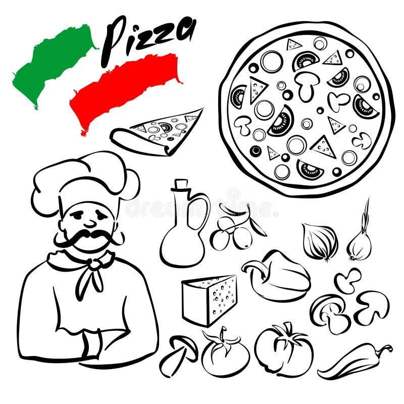 Vettore del fumetto di schizzo della raccolta della pizza royalty illustrazione gratis