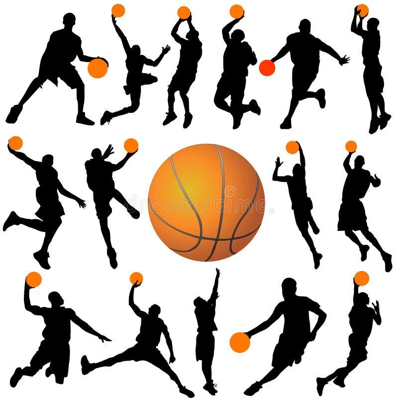 Vettore del giocatore e della sfera di pallacanestro illustrazione di stock
