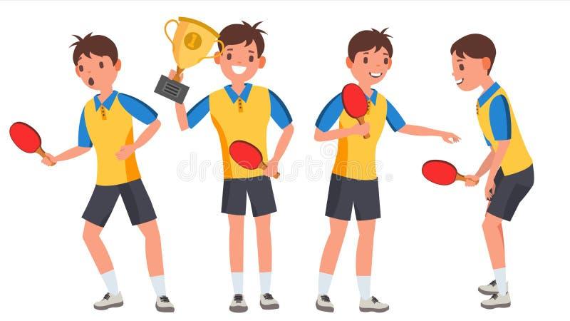 Vettore del giocatore del giovane di ping-pong Uomo Concetto di sport Giocatore stilizzato Atleta piano Cartoon Illustration illustrazione vettoriale