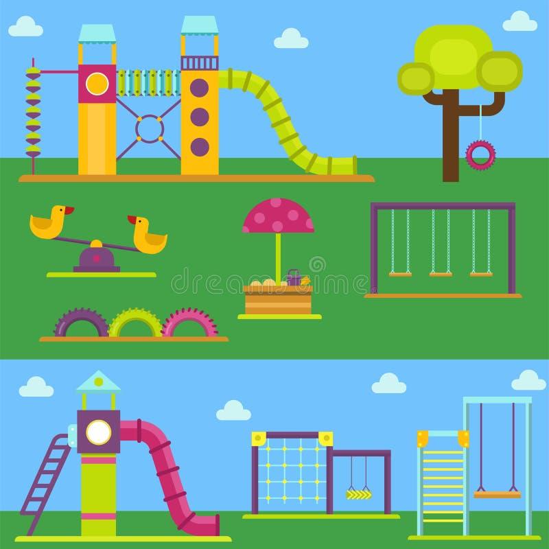 Vettore del giocattolo dell'attrezzatura dell'oscillazione di ricreazione del posto di attività del parco del gioco di infanzia d illustrazione vettoriale