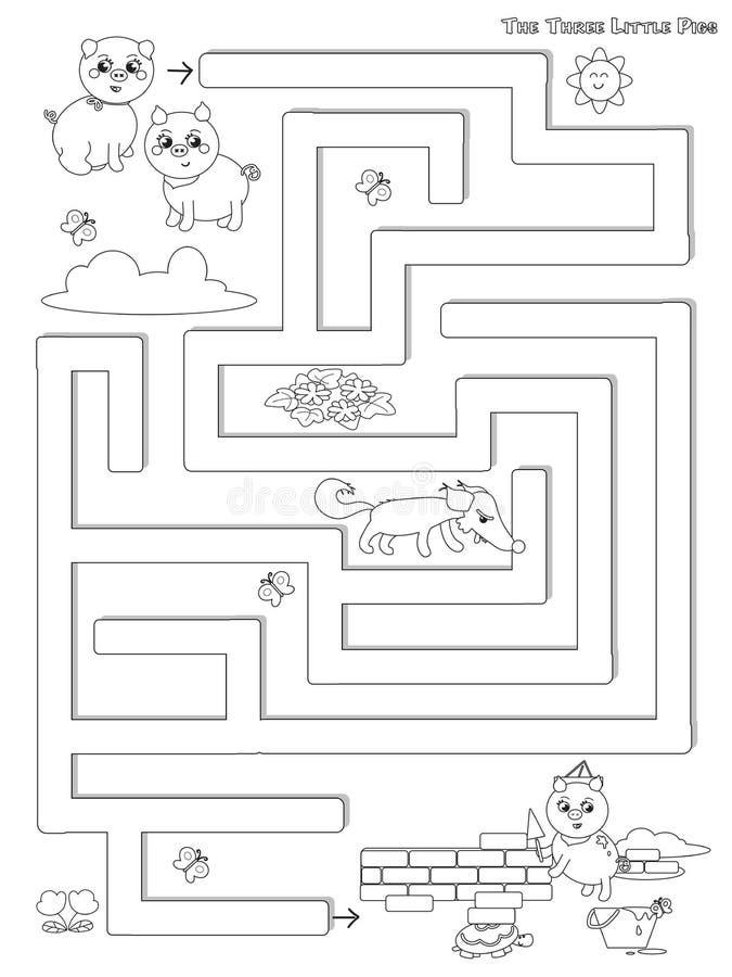 Vettore del gioco del labirinto di tre piccolo maiali illustrazione di stock