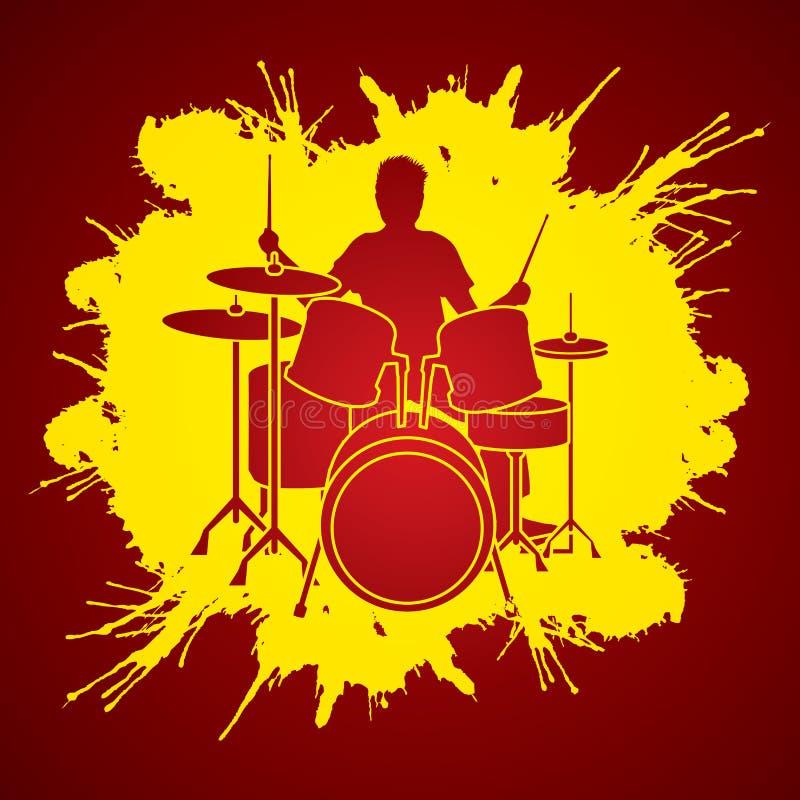 Vettore del grafico del giocatore del tamburo illustrazione di stock