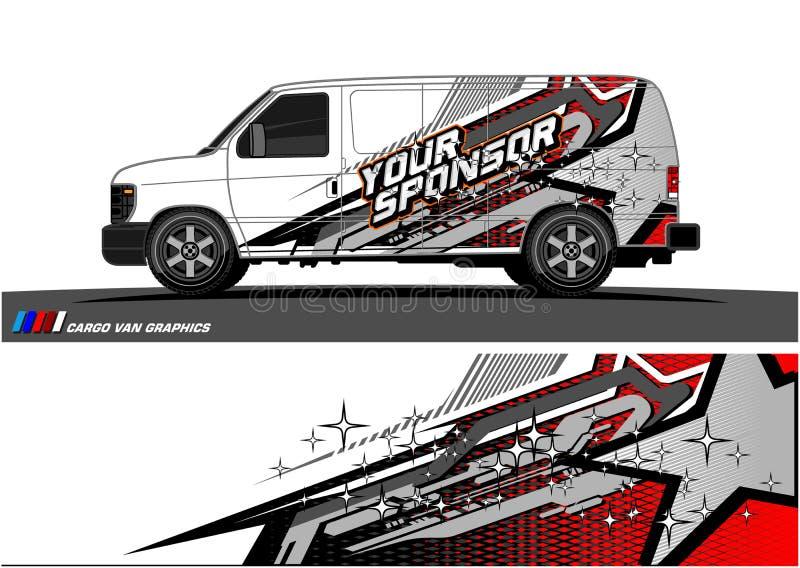 Vettore del grafico della livrea dell'automobile progettazione di corsa astratta di forma per il fondo dell'involucro del vinile  royalty illustrazione gratis