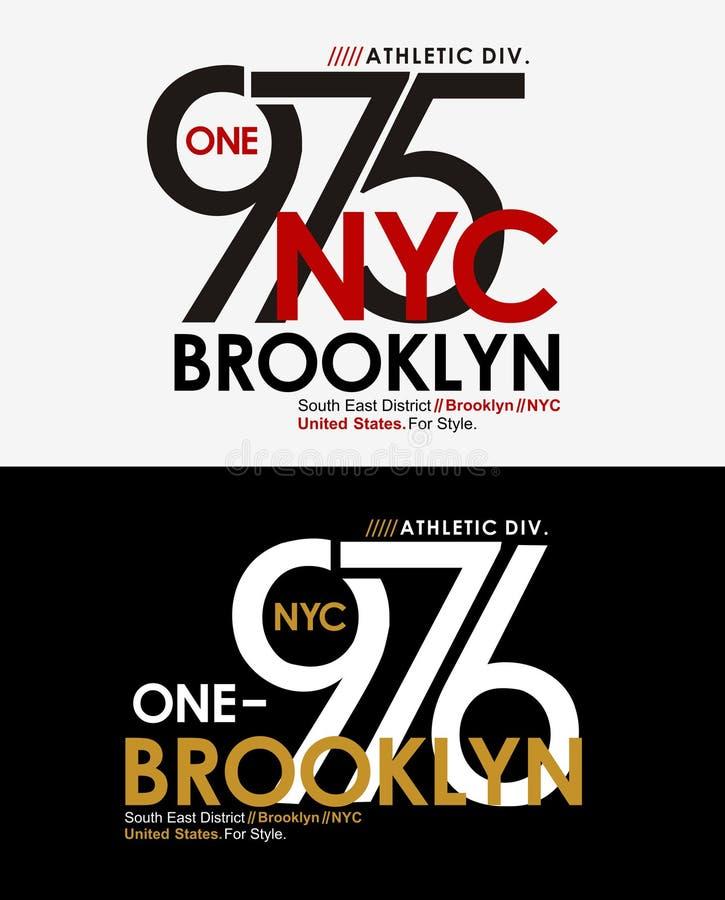 Vettore del grafico della maglietta di atletica di tipografia NYC Brooklyn illustrazione vettoriale