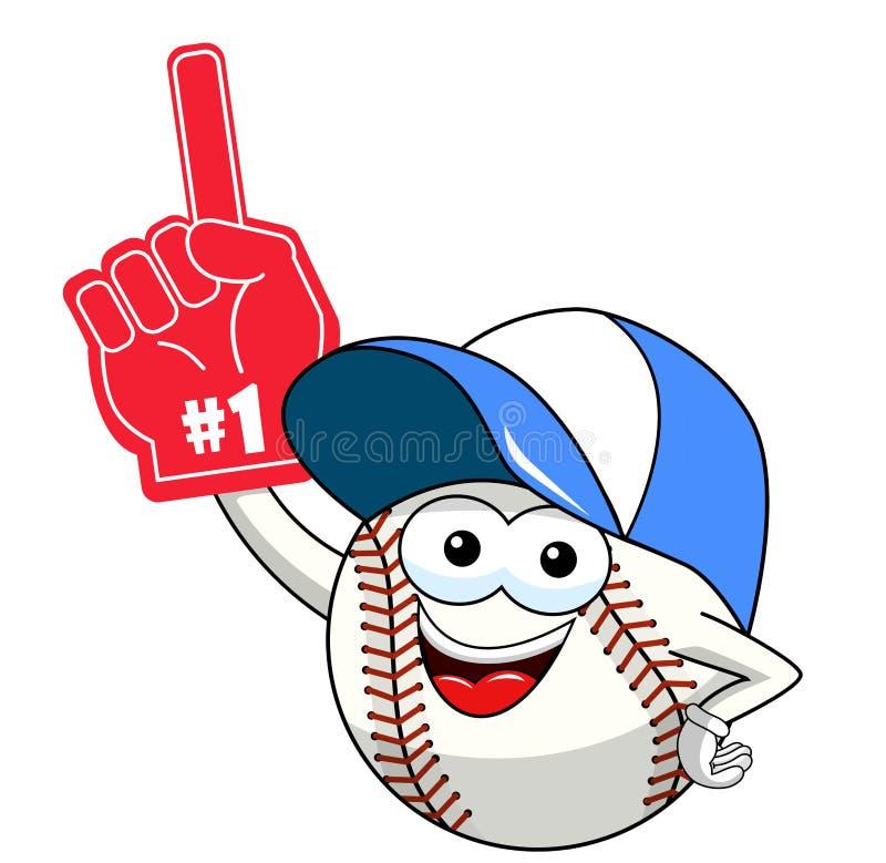 Vettore del guanto di numero uno del sostenitore del fumetto della mascotte del carattere della palla di baseball isolato illustrazione di stock